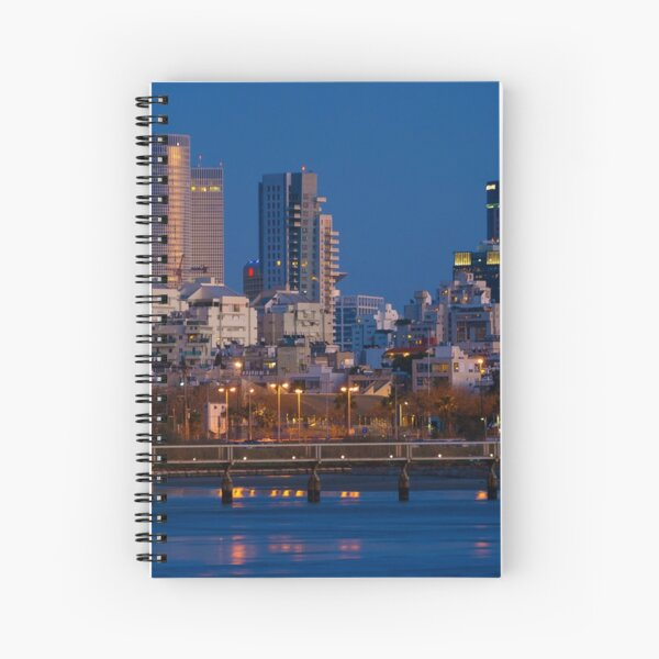 city lights and twilight hour at Tel Aviv Spiral Notebook