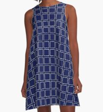 Classic Navy Blue Background with White Square Print Pattern A-Line Dress