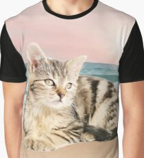 Striped Cat Sitting on Beach sunset Oil Painting Graphic T-Shirt