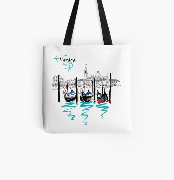 Gondolas in Venice lagoon, Italia All Over Print Tote Bag