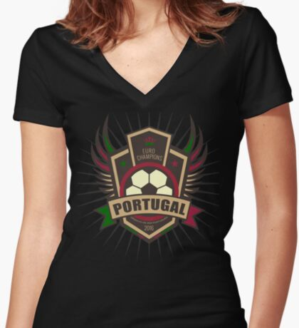 Portugal Euro 2016 Champions T-Shirts etc. ID-12 Women's Fitted V-Neck T-Shirt