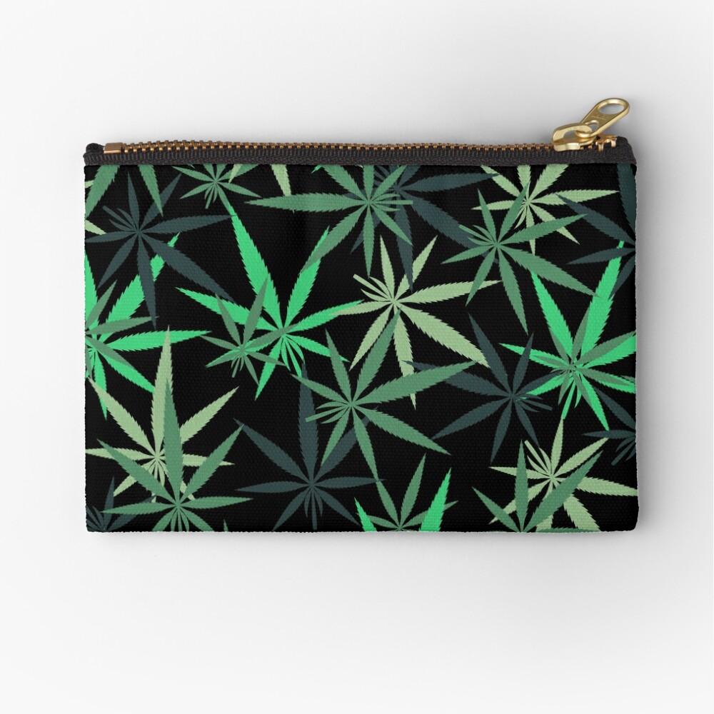 Rainbow of Green Marijuana Leaf  Zipper Pouch