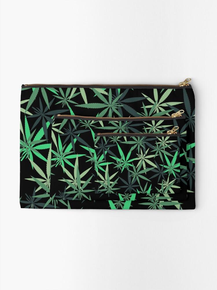 Alternate view of Rainbow of Green Marijuana Leaf  Zipper Pouch