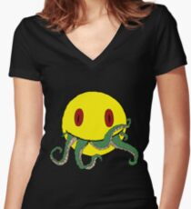 Cthulu smiley ii Women's Fitted V-Neck T-Shirt