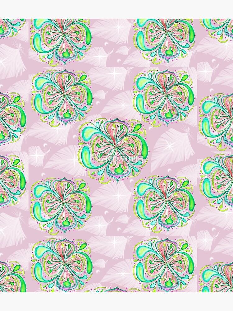 Fantasy Flower Lemony colors mandala feminine artwork by Naquaiya