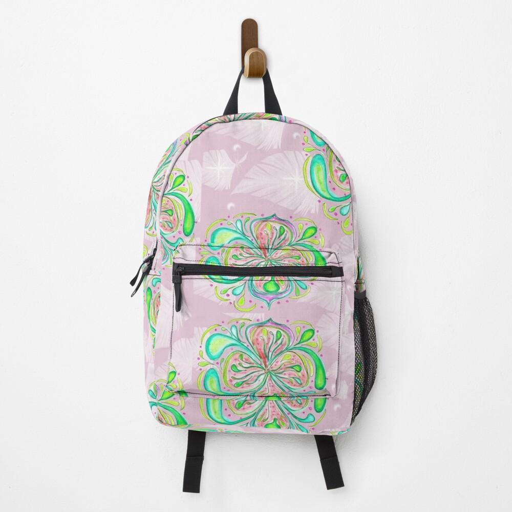 Fantasy Flower Lemony colors mandala feminine artwork Backpack
