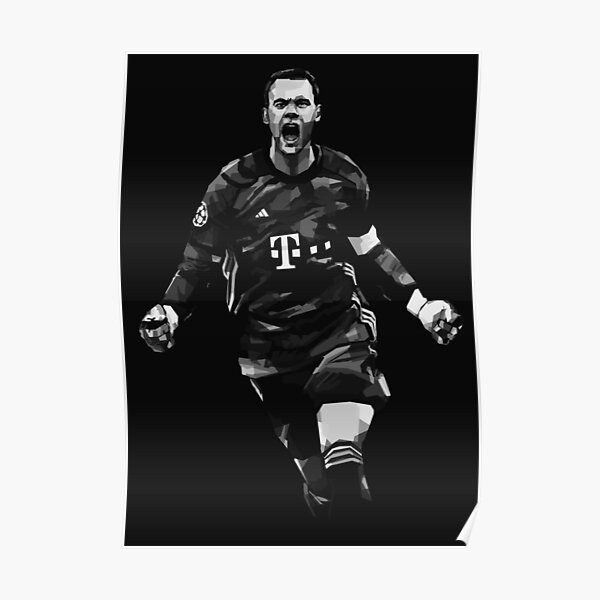 Manuel Neuer Black and White Poster