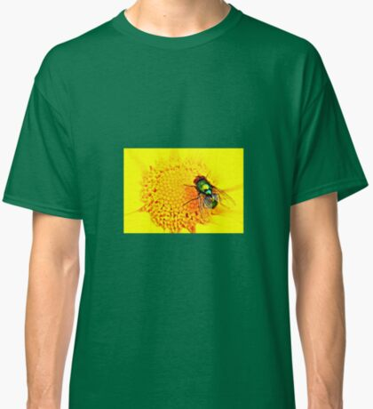Green Bottle Fly on Yellow Flower Classic T-Shirt