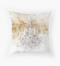 Watercolor Castle Chandelier Print Royal Gold Throw Pillow