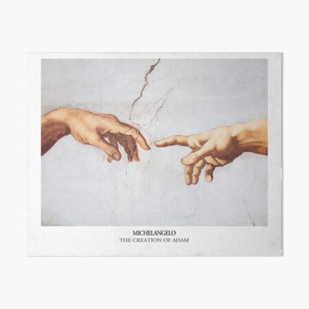 The Creation of Adam Michelangelo Fingers Touching Art Board Print
