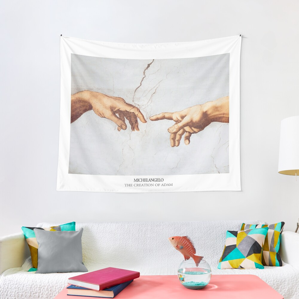 The Creation of Adam Michelangelo Fingers Touching Tapestry