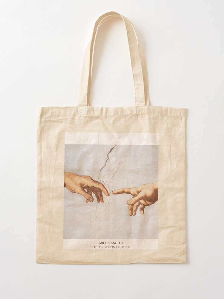 Alternate view of The Creation of Adam Michelangelo Fingers Touching Tote Bag