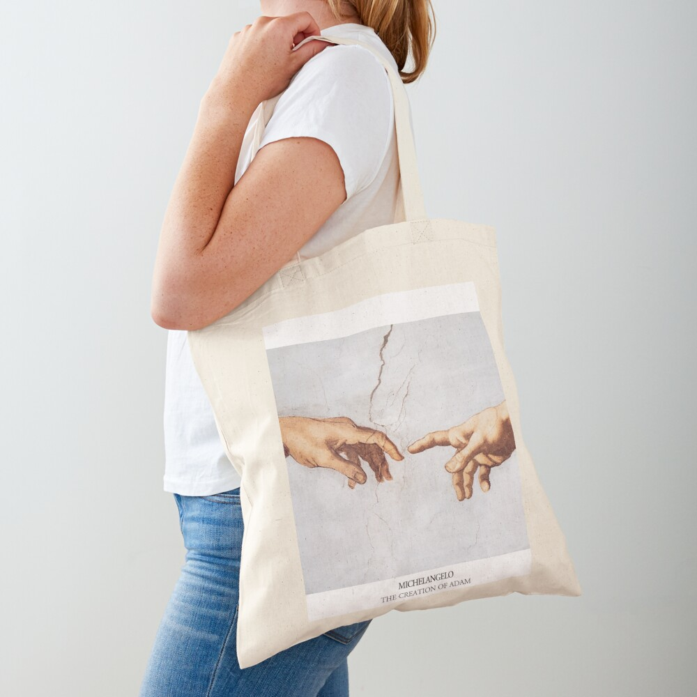 The Creation of Adam Michelangelo Fingers Touching Tote Bag