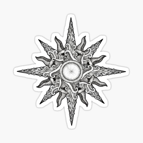 Surf in a Windrose – Compass (tattoo style) Sticker