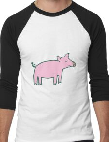 Simple Pig - pink and white Men's Baseball ¾ T-Shirt