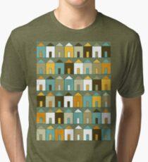 Beach Huts - Teal & Mustard Tri-blend T-Shirt
