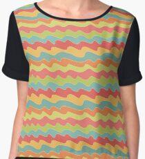 Retro colorful wave pattern. Pop seamless background.  Women's Chiffon Top
