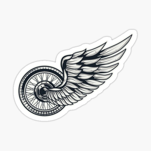 Motorcycle wheel with wings Sticker
