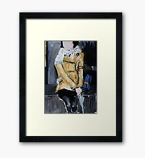 Contemporary Woman With Umbrella Tan Leather Jacket Acrylic Painting  Framed Print