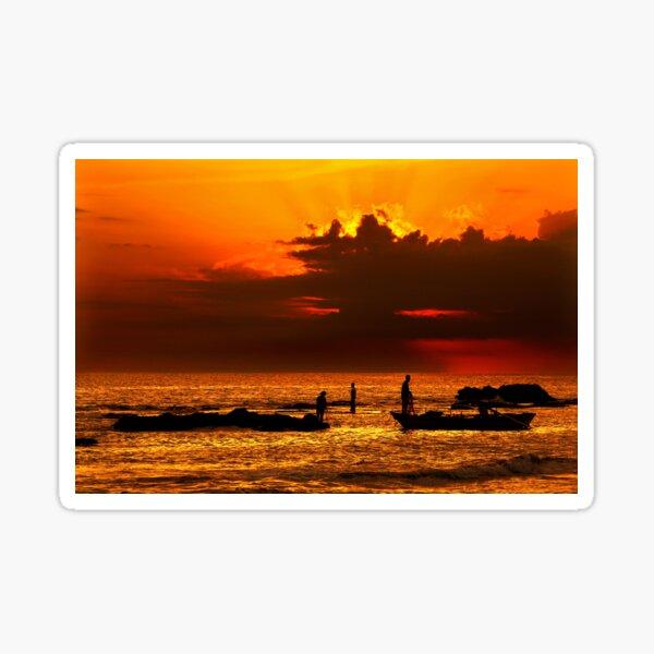 Fishing around sunset - Pantokratoras, Preveza Sticker