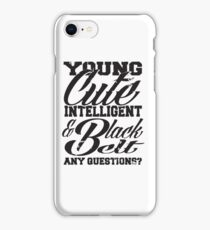 Young cute intelligent & black belt iPhone Case/Skin