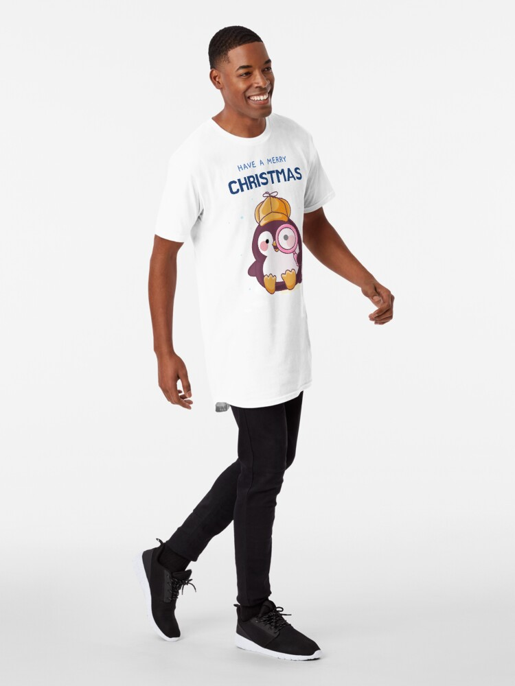 Alternate view of Have a Merry Christmas Cute Cozy Mystery Penguin Detective Long T-Shirt