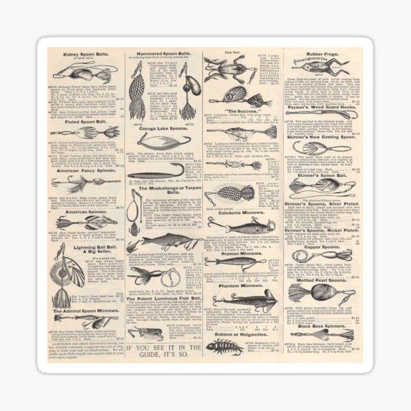 Fishing Lures Vintage Newsprint Advertising Antique Sticker