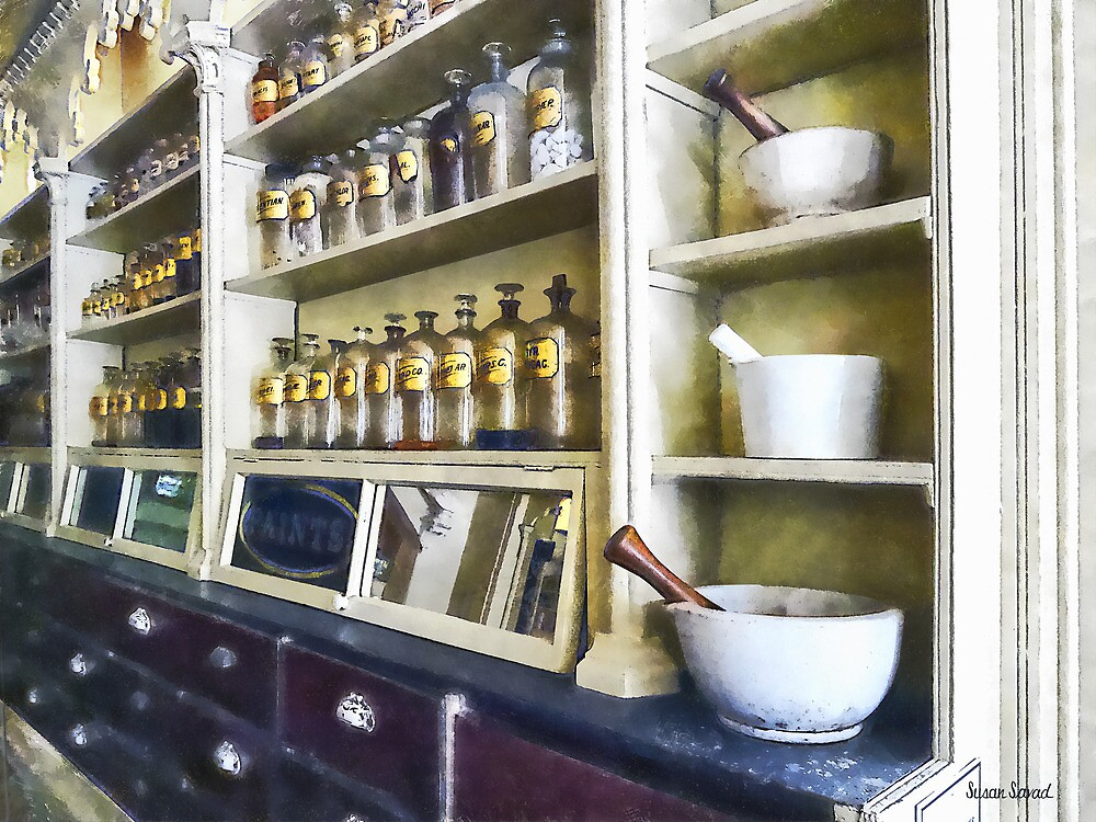 Three Mortar and Pestles in Pharmacy by Susan Savad