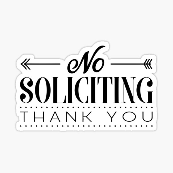 NO SOLICITING black SIGN Sticker
