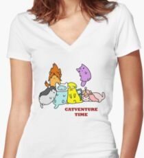 Catventure Time Women's Fitted V-Neck T-Shirt
