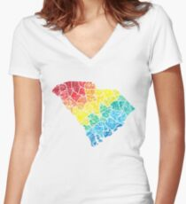 south carolina color counties Women's Fitted V-Neck T-Shirt
