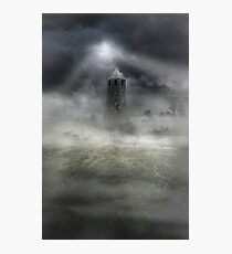 Foggy landscape with dark tower Photographic Print
