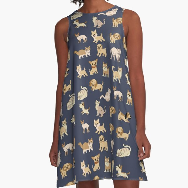 Cute Cats and Dogs Pattern: Pets owners Design A-Line Dress