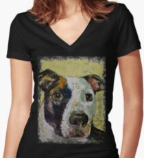 Pit Bull Portrait Women's Fitted V-Neck T-Shirt