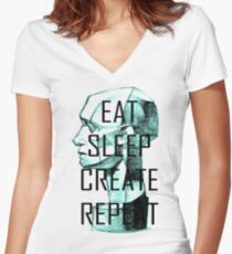 EAT, SLEEP, CREATE, REPEAT Women's Fitted V-Neck T-Shirt