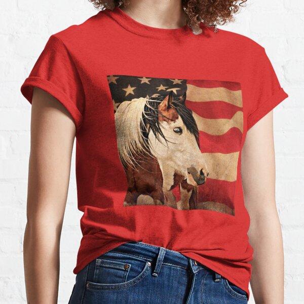American Flag Pinto Horse Classic T-Shirt