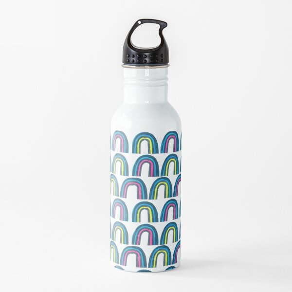Whimsical Rainbow in blue pink and yellow Water Bottle