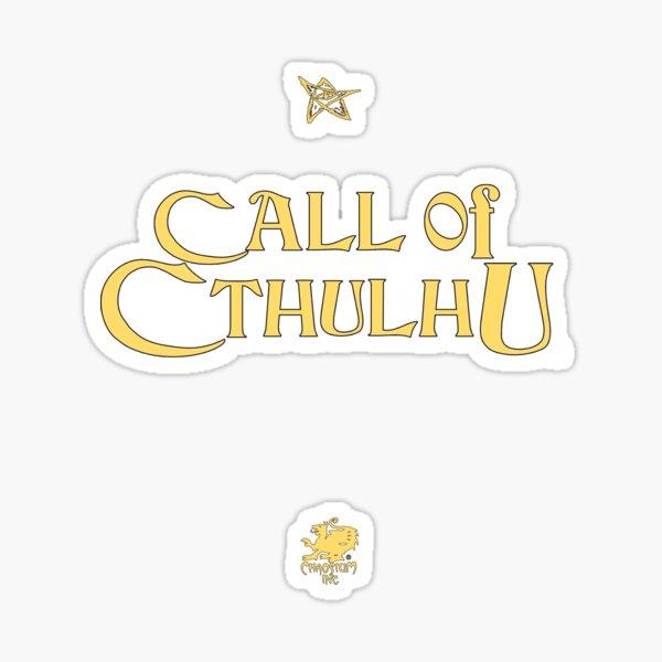 Call of Cthulhu - Logo (dorado con Elder Sign y Chaosium Inc. Logo) Pegatina