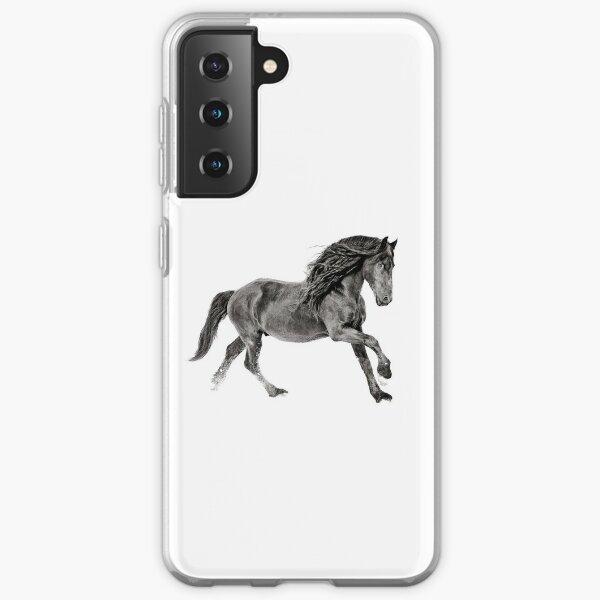 Black and White Friesian Stallion Samsung Galaxy Soft Case