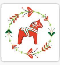 Dala Horse with Swedish Folk Art Wreath Sticker