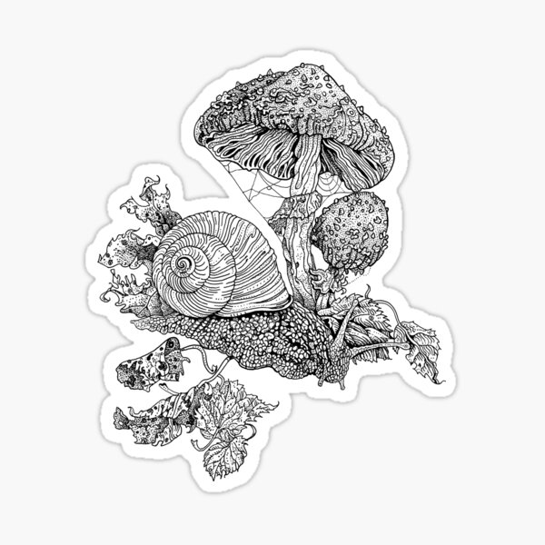 Snail and fly agaric mushrooms Sticker