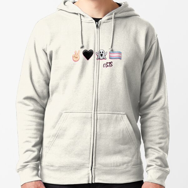 Peace, Love, Ghost, & Trans Pride Zipped Hoodie