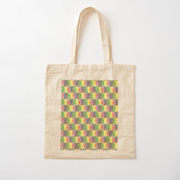 Swish Stamp Pattern - Yellow Green Pink Cotton Tote Bag