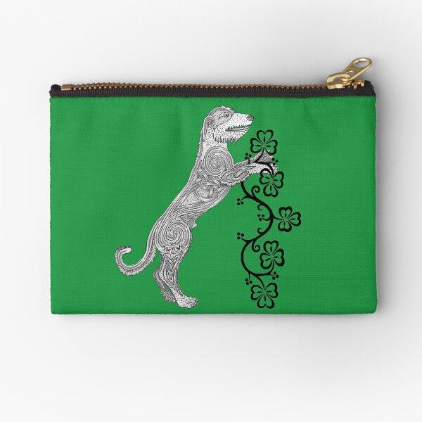 Rampant Celtic Knotwork Irish Wolfhound Zipper Pouch