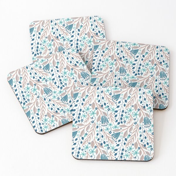 Pink leafy pattern  Coasters (Set of 4)