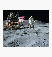 Commander John Young Jumps & Salutes the Flag Photographic Print