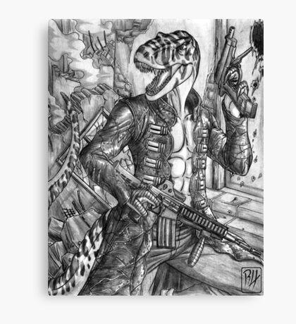 Battle T-Rex Canvas Print