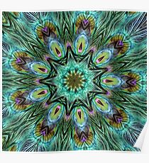 Colorful Peacock Feather Kaleidoscope Poster