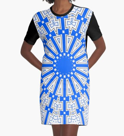 Summer Blue Circle and Bows Graphic T-Shirt Dress