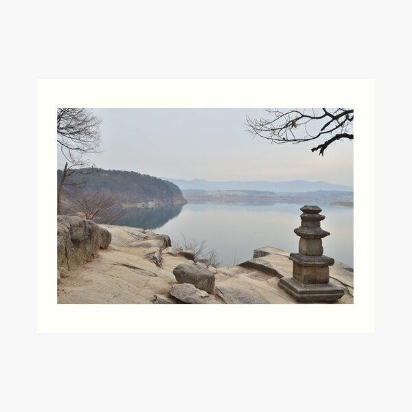 River Print, Calming Wall Art, Printable Wall Art, Temple Photo, Buddhism Wall Art, Neutral Wall Art Art Print